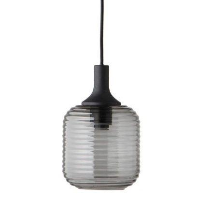 szara szklana lampa wisząca do salonu scandi