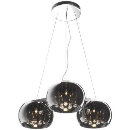 szare szklane lampy crystal z kryształami - 3 duże klosze