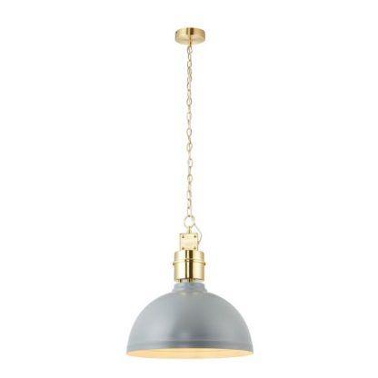 Szaro złota lampa wisząca z satynowym wykończeniem
