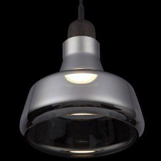 Szary okrągły szklany klosz lampy do sypialni