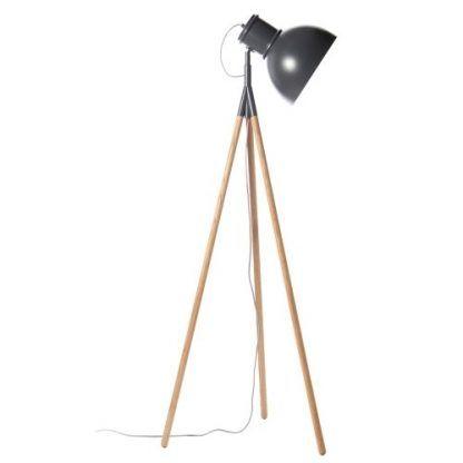 szary reflektor stojący do salonu z drewnianą podstawą