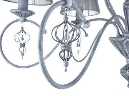 szary żyrandol z abażurami do salonu klasyczny