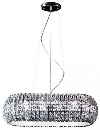szeroka kryształowa lampa wisząca do salonu - srebrna