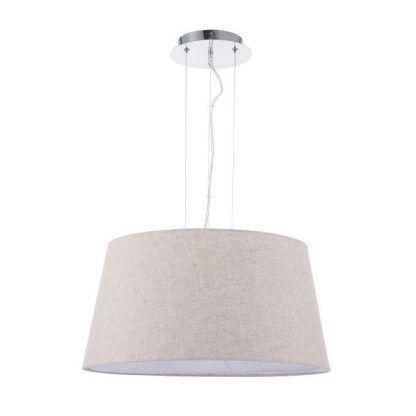 szeroka lampa wisząca z beżowym kloszem