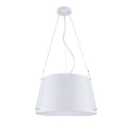 szeroka lampa wisząca z białym kloszem
