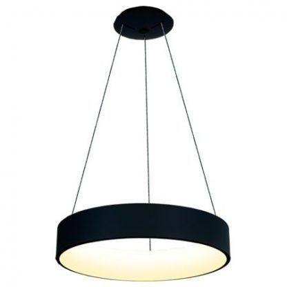 szeroka lampa wisząca z czarnym ringiem led