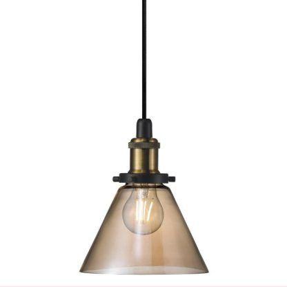 szklana i mosiężna lampa wisząca retro industrialna