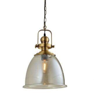 szklana i mosiężna lampa wisząca w stylu industrialnym