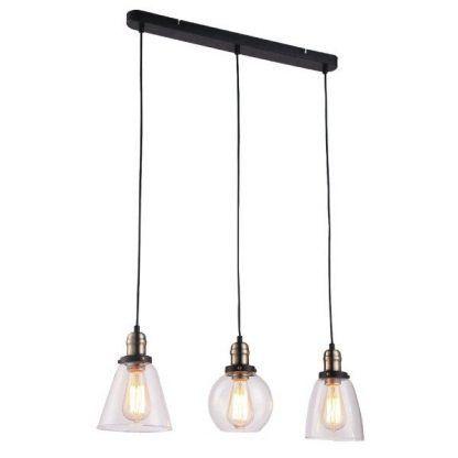 szklana industrialna lampa wisząca nad stół
