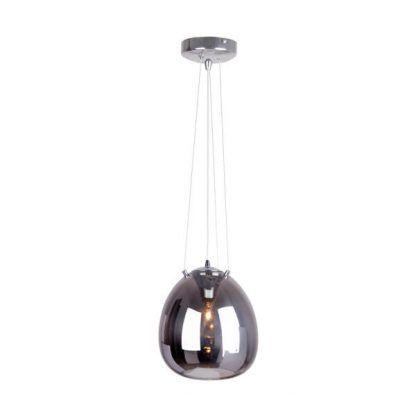 szklana kula wisząca na linkach stalowych - lampa wisząca