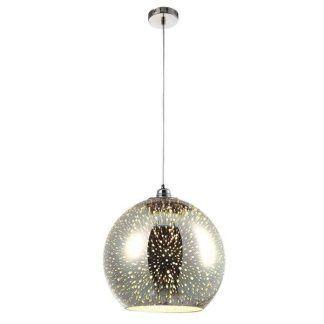 szklana lampa duża kula - srebrna wisząca