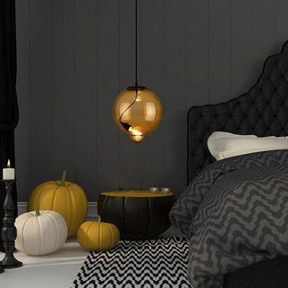szklana lampa kremowa do szarej sypialni aranżacja