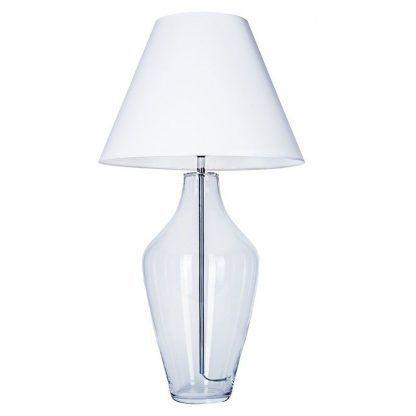 szklana lampa stojąca z białym abażurem na szafkę