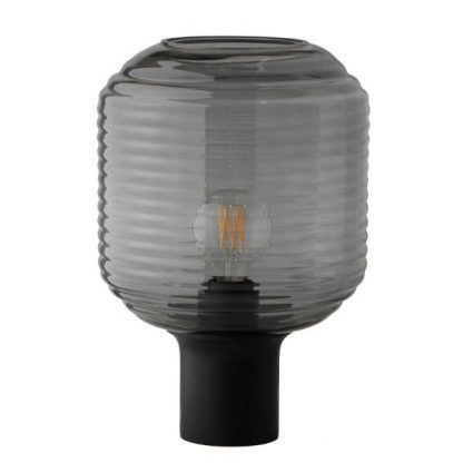 szklana lampa stołowa szary klosz nowoczesna