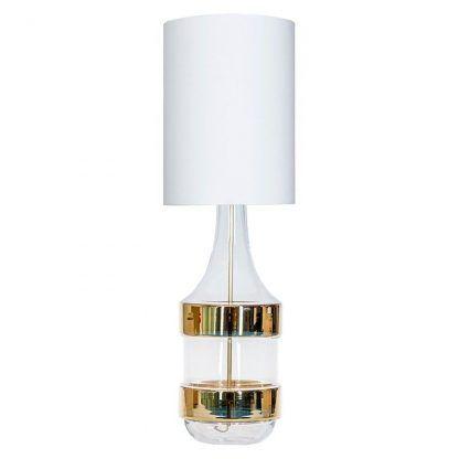 szklana lampa stołowa w złote pasy biały abażur