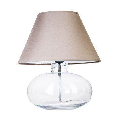szklana lampa stołowa z bezowym abazurem