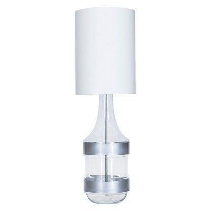 szklana lampa stołowa z białym abażurem nowoczesna