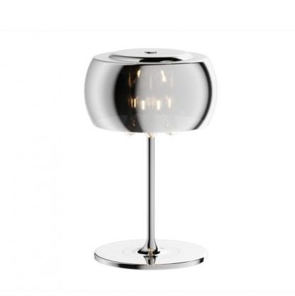 szklana lampa stołowa ze srebrną podstawa crystal