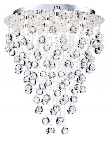 szklana lampa sufitowa z wieloma kuleczkami ze szkła i kryształów
