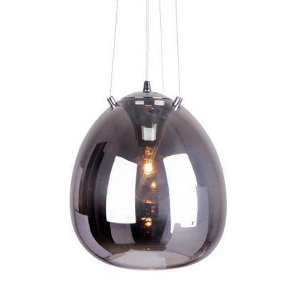 szklana lampa wisząca ball kula na linkach stalowych - antresola