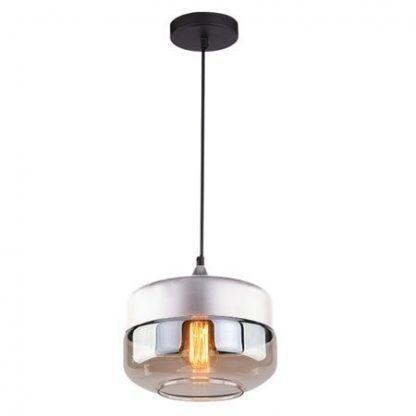 szklana lampa wisząca bursztynowy klosz