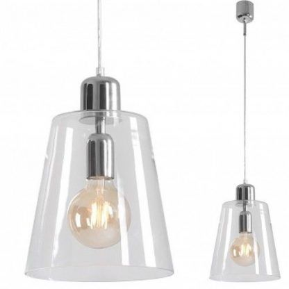 szklana lampa wisząca do kuchni bezbarwna