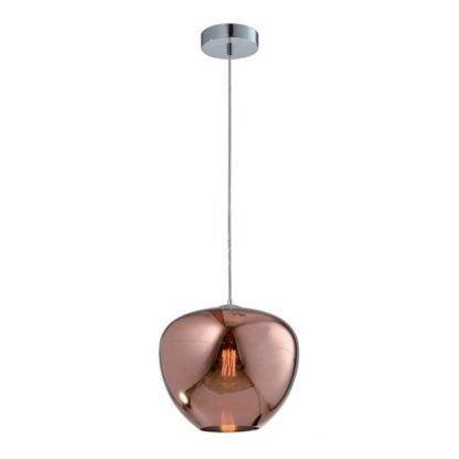 szklana lampa wisząca do kuchni różowe złoto