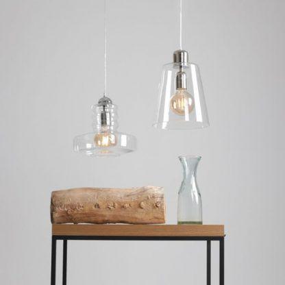 szklana lampa wisząca do sypialni aranżacja