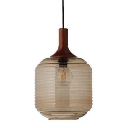 szklana lampa wisząca drewniane mocowanie
