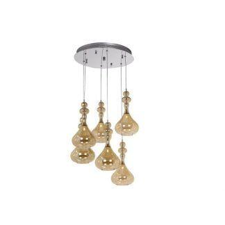 szklana lampa wisząca kaskada kloszy beżowa