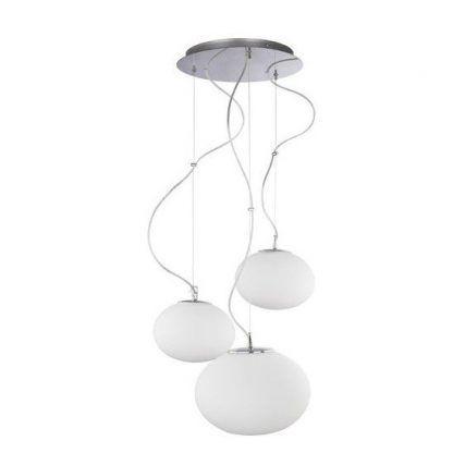 szklana lampa wisząca klosze na różnych wysokościach