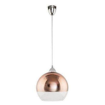 szklana lampa wisząca miedziany klosz kula