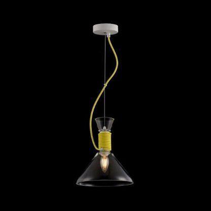 szklana lampa wisząca na lince z żółtym sznurkiem i kloszem