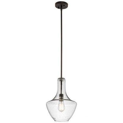 szklana lampa wisząca o ciekawym kloszu - przezroczysta