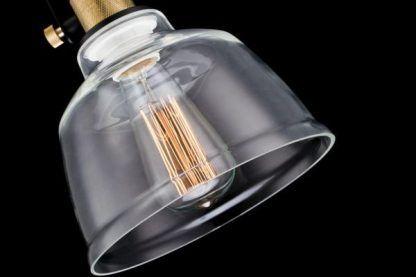 szklana lampa wisząca retro ze złotymi mocowaniami
