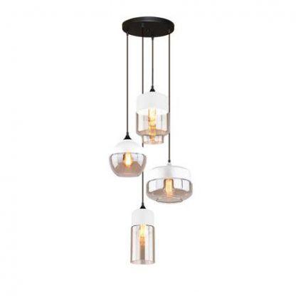szklana lampa wisząca różne kształty kloszy