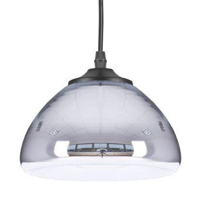 szklana lampa wisząca srebrna w połysku do salonu