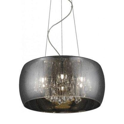szklana lampa wisząca szara - salon i sypialnia glamour
