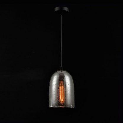 szklana lampa wisząca szary klosz nowoczesna