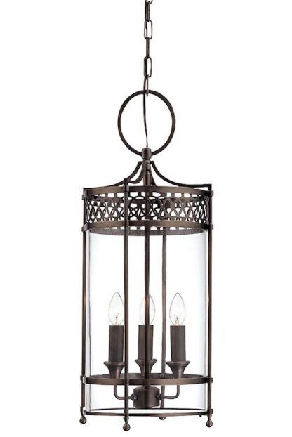 szklana lampa wiszaca typu jupiter - brązowa