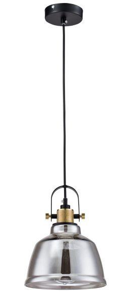 szklana lampa wisząca w stylu industrialnym szara