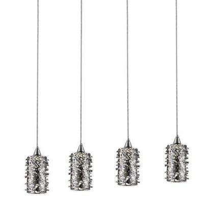 szklana lampa wisząca z ciekawymi kloszami na 4 żarówki