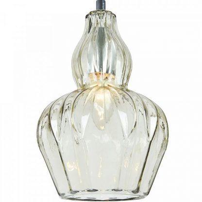 szklana lampa wisząca z kryształowym kloszem glamour
