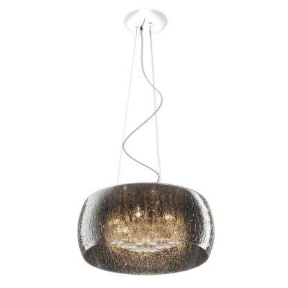 szklana lampa wisząca z kulkami szklanymi w środku - szara do salonu