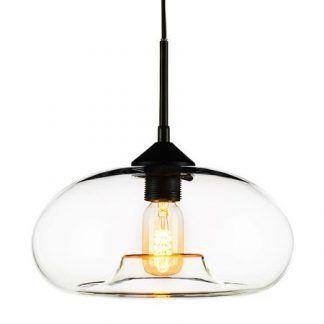 szklana lampa wisząca z owalnym bezbarwnym kloszem