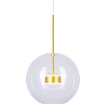 szklana lampa wisząca ze złotymi detalami
