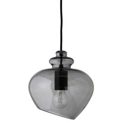 szklana lampa z żarówką do salonu - szare szkło zdobne