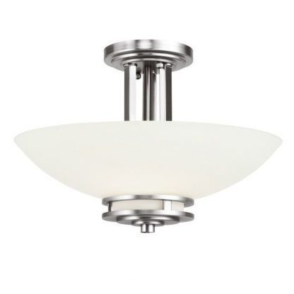 Szklana lampa ze srebrną podstawą do łazienki