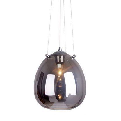 szklana owalna lampa wisząca na linkach - szaro srebrna