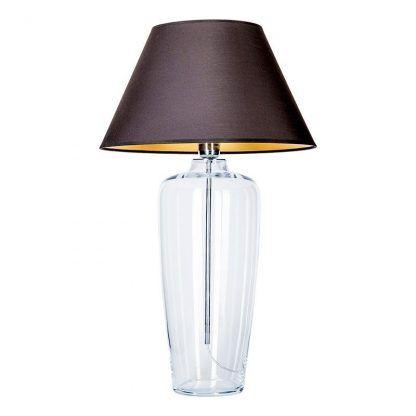 szklana podstawa w lampie stołowej - abażur czerń